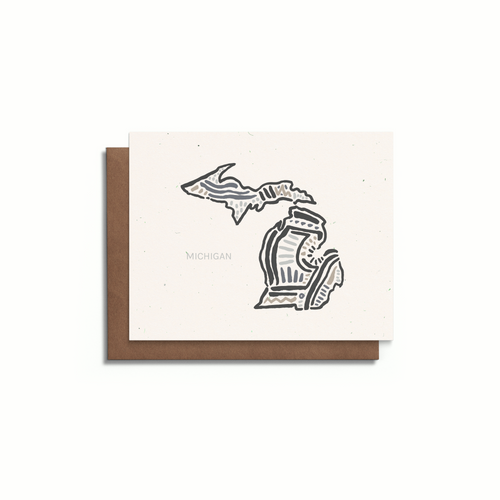 Michigan State Greeting Card | Blank A2 Card | Speckled Tone