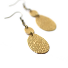 Minimalist Organic Textured Shapes - Raw Brass Dangle Earrings