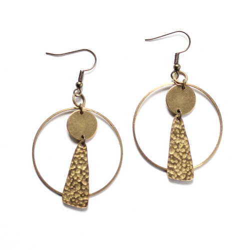 Hoop Earrings with Textured Charms - Raw Brass Dangle Earrings
