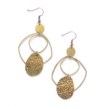 Modern and Organic Textured - Raw Brass Dangle Earrings