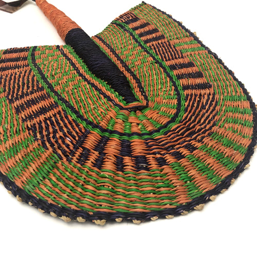 Green,Purple and Orange - One of a Kind Colorful Ghanaian Fan