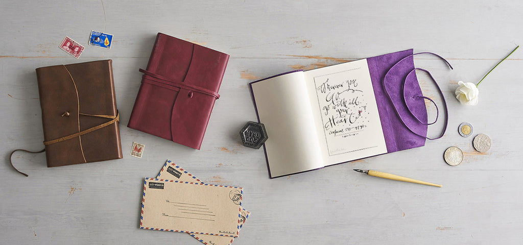 Handmade leather journals from Italy
