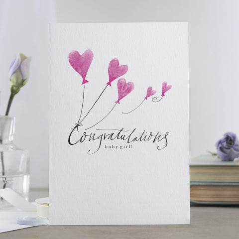 'Congratulations Baby Girl' Card