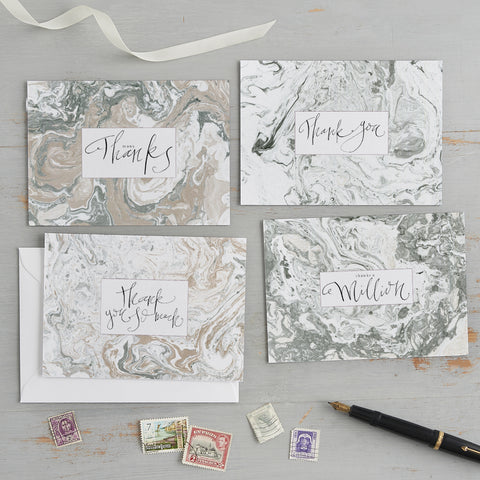 'Thank You' Marbled Postcard Set