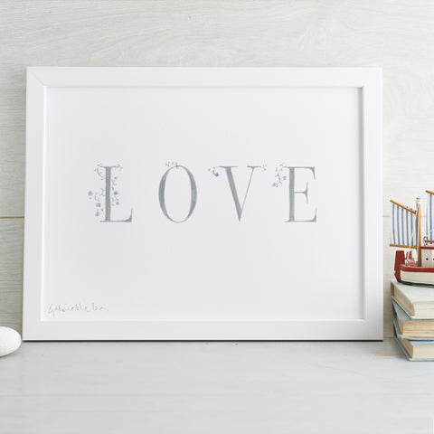 'Love' Decorative Hand Finished Art Print