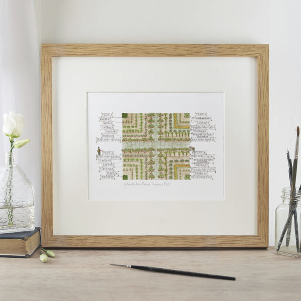 'French Diagonal Plot' Mounted Print