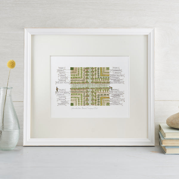 'French Diagonal Plot' A4 Gardening Print