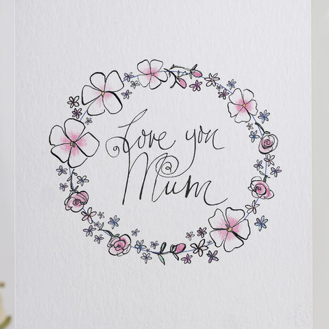 'Love You Mum' Balloons Card