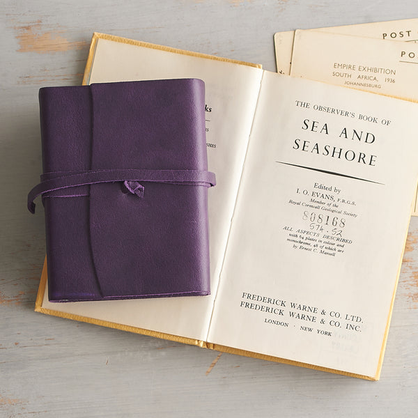 Small Handmade Luxury Mauve Leather Notebook