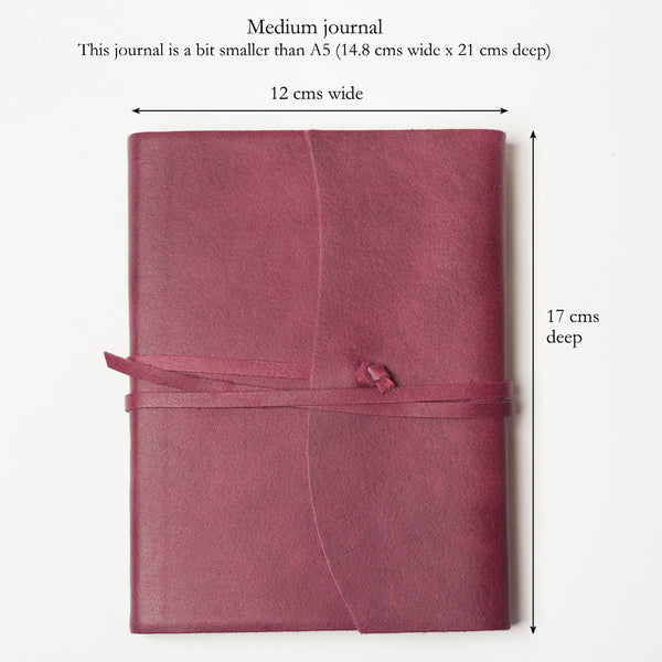 Handmade Burgundy Leather Travel Journal