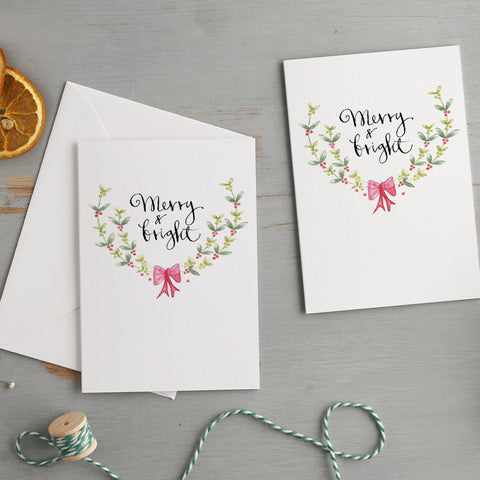 'Merry & Bright' Christmas Card Pack