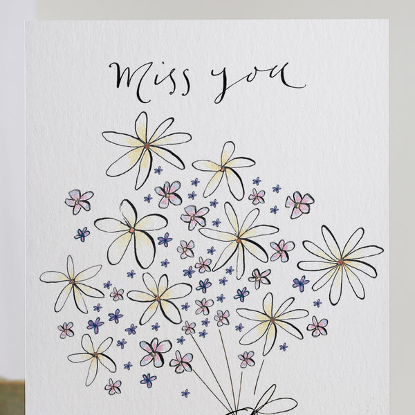 'Miss You' Bouquet Card