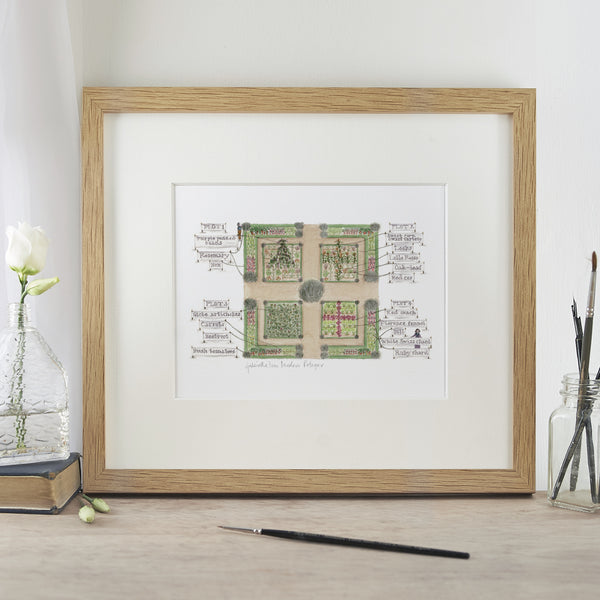 'Modern Potager' Mounted Print