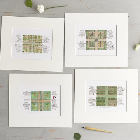 'Garden Plots' Mounted Prints Gift Set