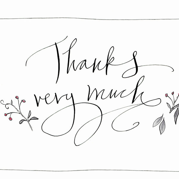 'Thank You' Hand Drawn Notecard Set