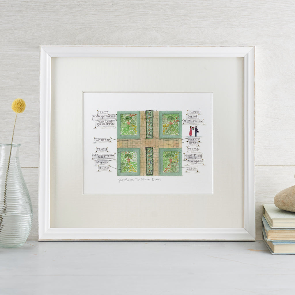 'Traditional Potager' Mounted Print