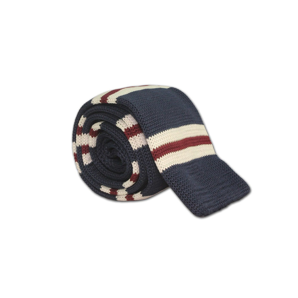 Navy Stripe Knit Tie