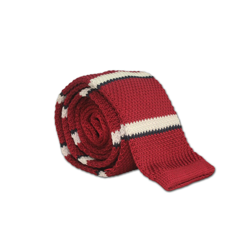 Rich Red Stripped Knit Tie