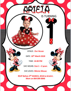Minnie Mouse Party Invitation