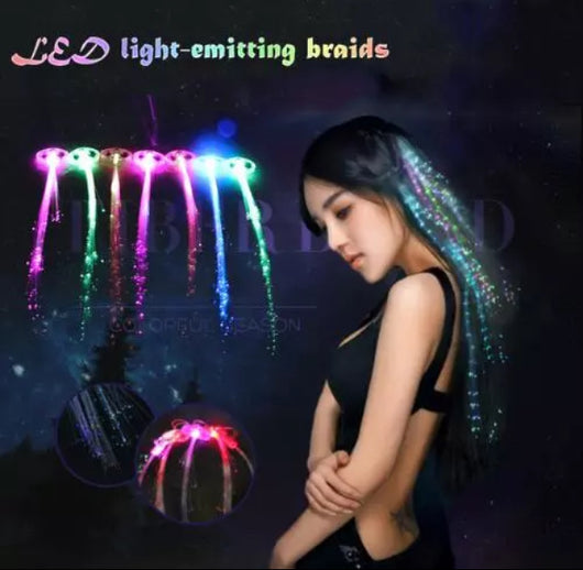 10pcs LED Flashing Fibre Optic Hair Clip