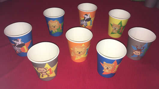12pcs Wild 1 Theme Paper Cups