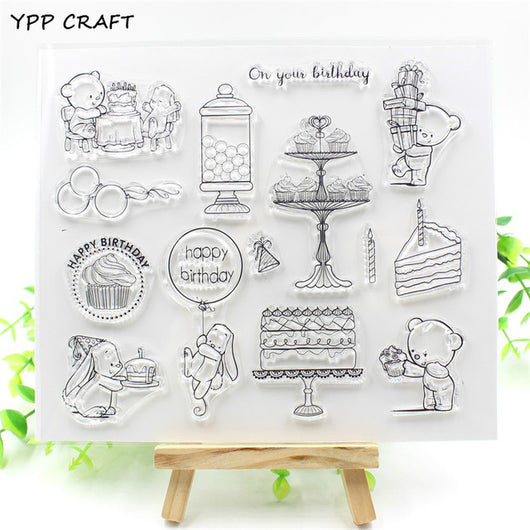Happy Birthday Teddy Bear and Bunny Stamp Set