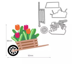 6pcs Flower Wheel Barrow Cutting Die Set