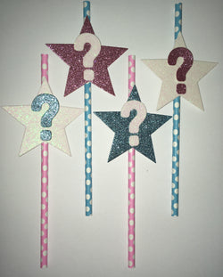 12Pcs Gender Reveal Paper Straws