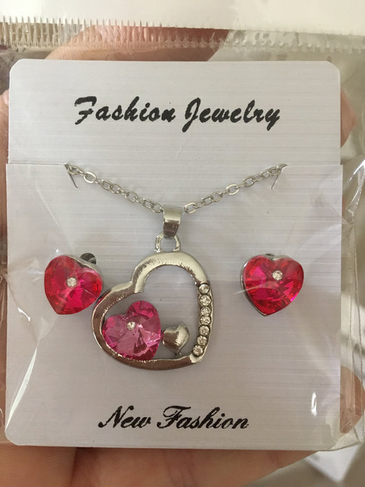 Pink Crystal Heart Necklace and earring set