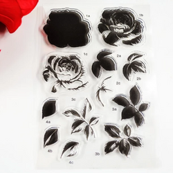 Rose and Leaf layered stamp set
