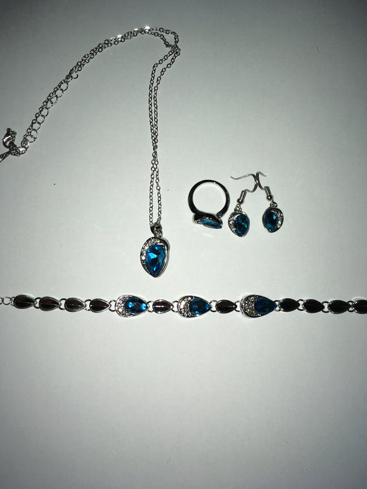 Bracelet, ring, necklace and earring set