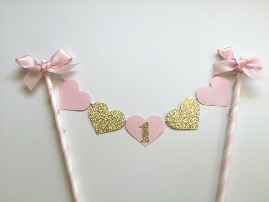 Beautiful Gold and Pink Heart Cake Topper