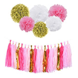 1Set Tissue Paper Tassels and Pom poms