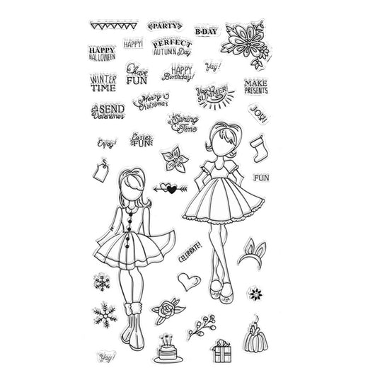 Paper Doll and Sentiment Stamp Set