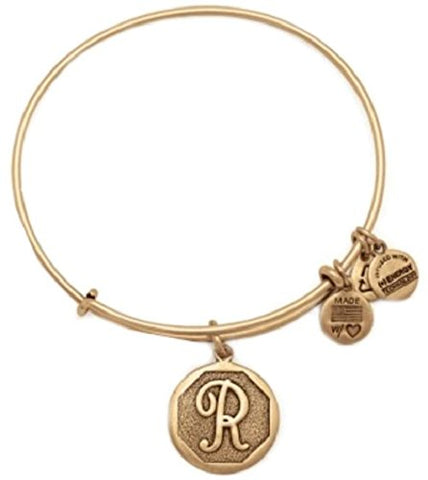 "Alex and Ani Initial ""R"" Rafaelian Gold Bangle A13EB14RG"