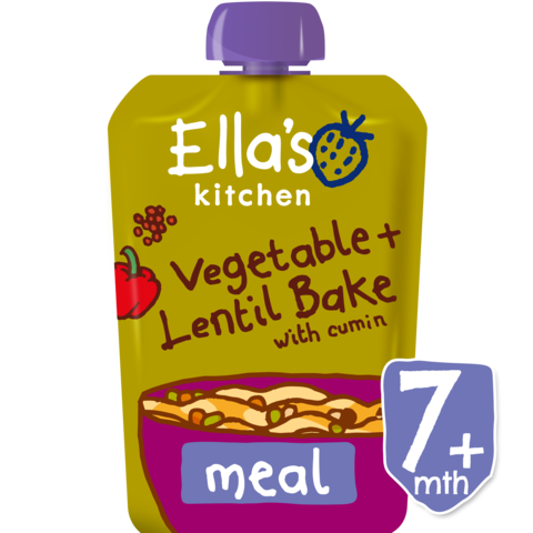 Ella's Kitchen Very, Very, Tasty Vegetables Bake with Lentils Stage 2, 130g (From 7 Months)