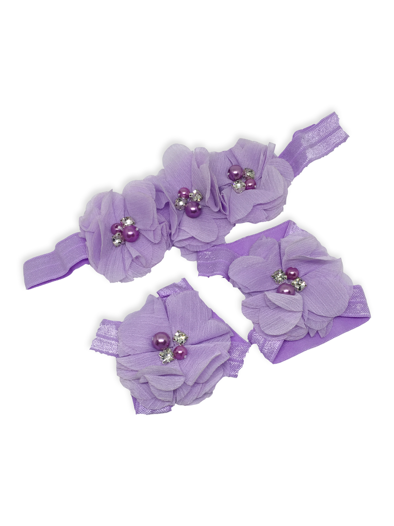 Stella and Chan - Baby Flower Band Set, Purple