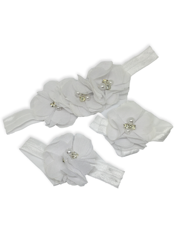 Stella and Chan - Baby Flower Band Set, Dirty White