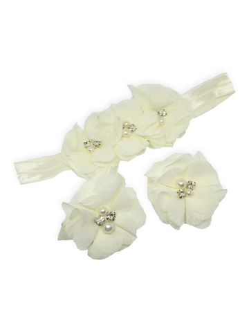 Stella and Chan - Baby Flower Band Set, White