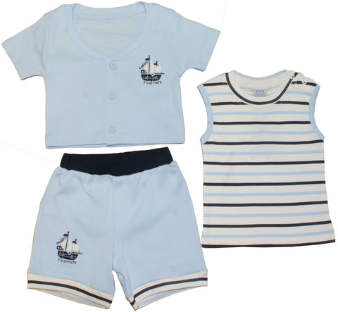 "Little Mariner 3pc Boys Set ""Boat Emb"""