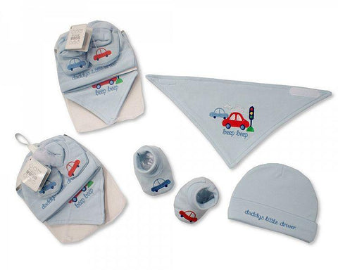 Baby Bib, Hat and Booties Set - Beep, Beep by Nursery Time