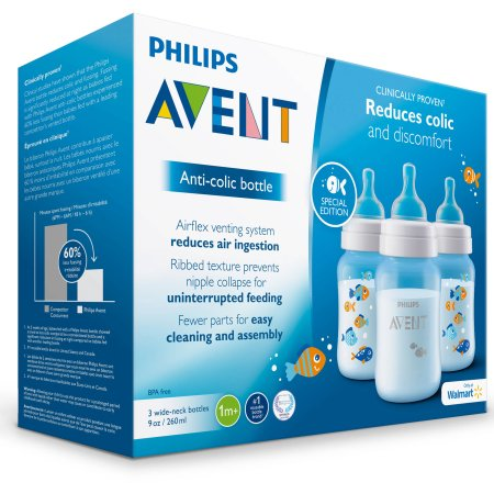 Philips Avent Anti-colic Fish Design 9oz Baby Bottles, BPA-Free, 3-Pack