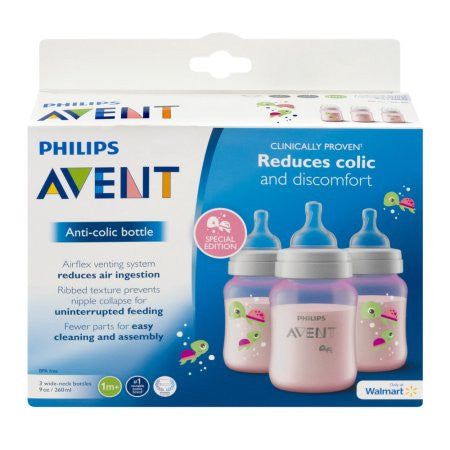 Philips Avent Anti-colic Sea Design 9oz Baby Bottles, BPA-Free, 3-Pack