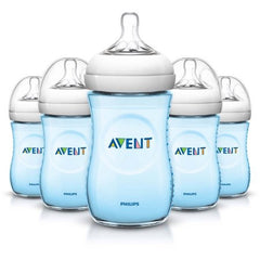 Philips Avent BPA Free Natural Blue Baby Bottles, 9 Ounce, 5 Pack