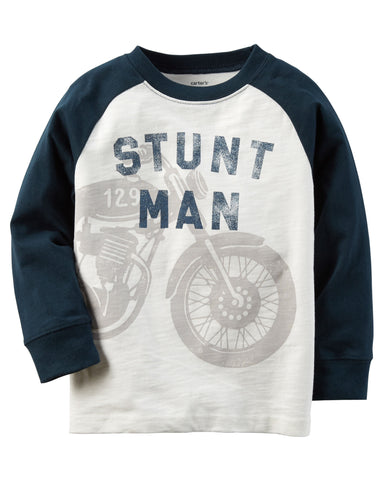 Carters Long-Sleeve Raglan Motorcycle Graphic Tee