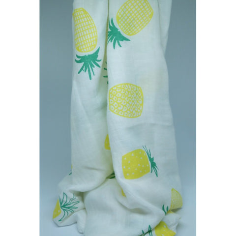NuBorn Classic Bamboo Muslin Swaddle Blanket (Yellow Pineapple)