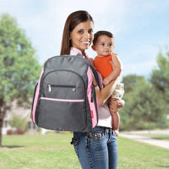 Fisher-Price Ripstop Backpack Diaper Bag, GreyPink