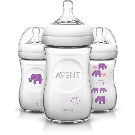 Philips Avent BPA-Free Natural Elephant Baby Bottles, 9 Ounce, 3 Pack