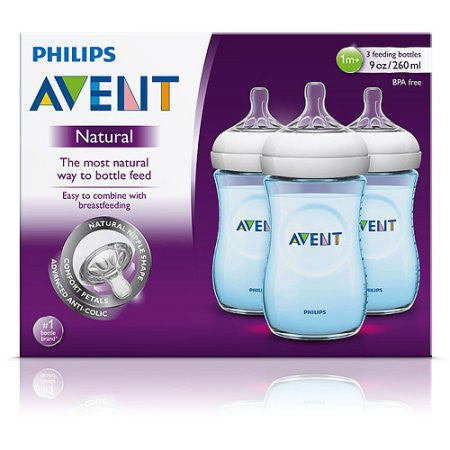 Philips Avent BPA Free Natural Blue Baby Bottles, 9 Ounce, 3 Pack