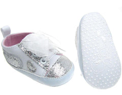 Cotton Twill Trainers w/ Organz Lace & Glitter Heart Applique by Soft Touch